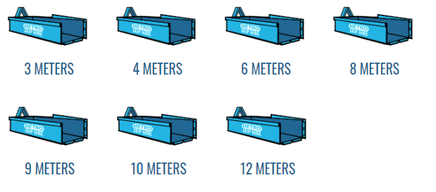 An image of the Metro Skip Bin Hire bin sizes.