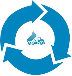An image of a recycling sign and a truck.